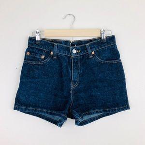 Levi's Classic Dark Blue Mid Rise Jean Shorts